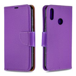 Classic Luxury Litchi Leather Phone Wallet Case for Huawei Y7(2019) / Y7 Prime(2019) / Y7 Pro(2019) - Purple