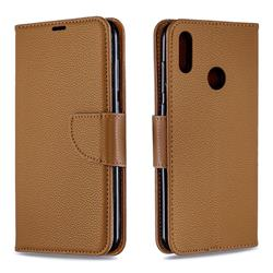 Classic Luxury Litchi Leather Phone Wallet Case for Huawei Y7(2019) / Y7 Prime(2019) / Y7 Pro(2019) - Brown