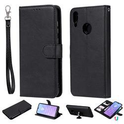 Retro Greek Detachable Magnetic PU Leather Wallet Phone Case for Huawei Y7(2019) / Y7 Prime(2019) / Y7 Pro(2019) - Black