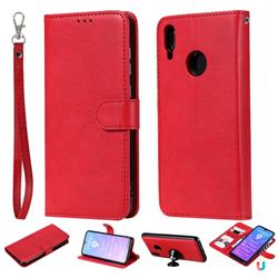 Retro Greek Detachable Magnetic PU Leather Wallet Phone Case for Huawei Y7(2019) / Y7 Prime(2019) / Y7 Pro(2019) - Red
