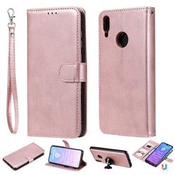 Retro Greek Detachable Magnetic PU Leather Wallet Phone Case for Huawei Y7(2019) / Y7 Prime(2019) / Y7 Pro(2019) - Rose Gold