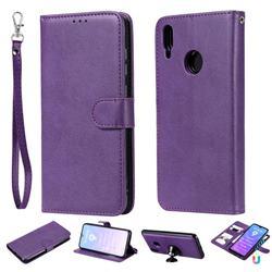 Retro Greek Detachable Magnetic PU Leather Wallet Phone Case for Huawei Y7(2019) / Y7 Prime(2019) / Y7 Pro(2019) - Purple