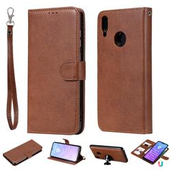 Retro Greek Detachable Magnetic PU Leather Wallet Phone Case for Huawei Y7(2019) / Y7 Prime(2019) / Y7 Pro(2019) - Brown