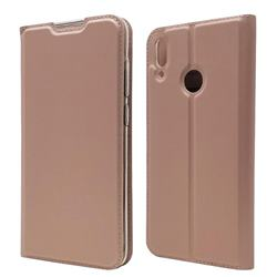 Ultra Slim Card Magnetic Automatic Suction Leather Wallet Case for Huawei Y7(2019) / Y7 Prime(2019) / Y7 Pro(2019) - Rose Gold