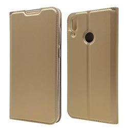 Ultra Slim Card Magnetic Automatic Suction Leather Wallet Case for Huawei Y7(2019) / Y7 Prime(2019) / Y7 Pro(2019) - Champagne
