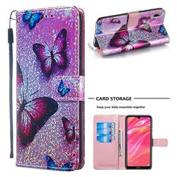 Blue Butterfly Sequins Painted Leather Wallet Case for Huawei Y7(2019) / Y7 Prime(2019) / Y7 Pro(2019)