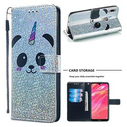 Panda Unicorn Sequins Painted Leather Wallet Case for Huawei Y7(2019) / Y7 Prime(2019) / Y7 Pro(2019)