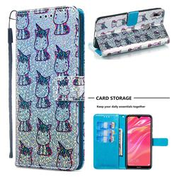 Little Unicorn Sequins Painted Leather Wallet Case for Huawei Y7(2019) / Y7 Prime(2019) / Y7 Pro(2019)