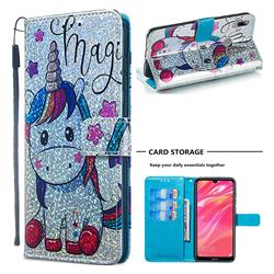 Star Unicorn Sequins Painted Leather Wallet Case for Huawei Y7(2019) / Y7 Prime(2019) / Y7 Pro(2019)