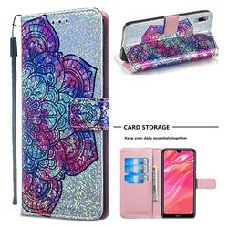 Glutinous Flower Sequins Painted Leather Wallet Case for Huawei Y7(2019) / Y7 Prime(2019) / Y7 Pro(2019)
