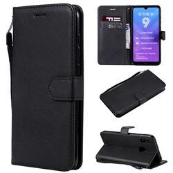 Retro Greek Classic Smooth PU Leather Wallet Phone Case for Huawei Y7(2019) / Y7 Prime(2019) / Y7 Pro(2019) - Black