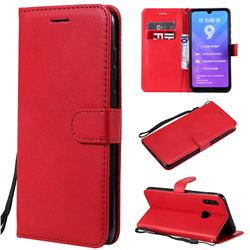 Retro Greek Classic Smooth PU Leather Wallet Phone Case for Huawei Y7(2019) / Y7 Prime(2019) / Y7 Pro(2019) - Red