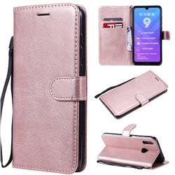 Retro Greek Classic Smooth PU Leather Wallet Phone Case for Huawei Y7(2019) / Y7 Prime(2019) / Y7 Pro(2019) - Rose Gold