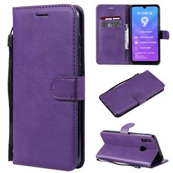 Retro Greek Classic Smooth PU Leather Wallet Phone Case for Huawei Y7(2019) / Y7 Prime(2019) / Y7 Pro(2019) - Purple