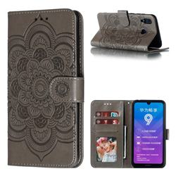 Intricate Embossing Datura Solar Leather Wallet Case for Huawei Y7(2019) / Y7 Prime(2019) / Y7 Pro(2019) - Gray