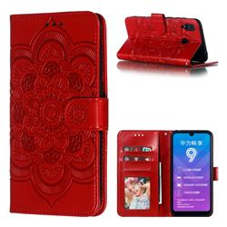 Intricate Embossing Datura Solar Leather Wallet Case for Huawei Y7(2019) / Y7 Prime(2019) / Y7 Pro(2019) - Red