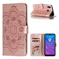 Intricate Embossing Datura Solar Leather Wallet Case for Huawei Y7(2019) / Y7 Prime(2019) / Y7 Pro(2019) - Rose Gold