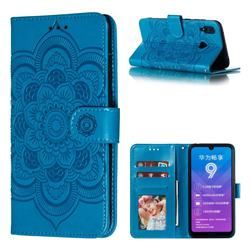 Intricate Embossing Datura Solar Leather Wallet Case for Huawei Y7(2019) / Y7 Prime(2019) / Y7 Pro(2019) - Blue