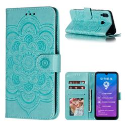 Intricate Embossing Datura Solar Leather Wallet Case for Huawei Y7(2019) / Y7 Prime(2019) / Y7 Pro(2019) - Green