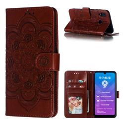 Intricate Embossing Datura Solar Leather Wallet Case for Huawei Y7(2019) / Y7 Prime(2019) / Y7 Pro(2019) - Brown