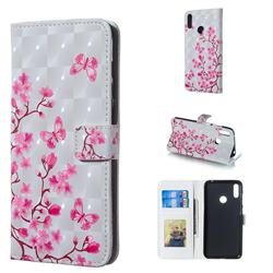 Butterfly Sakura Flower 3D Painted Leather Phone Wallet Case for Huawei Y7(2019) / Y7 Prime(2019) / Y7 Pro(2019)