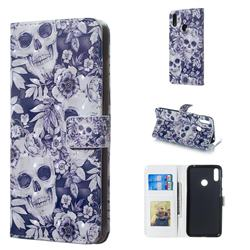 Skull Flower 3D Painted Leather Phone Wallet Case for Huawei Y7(2019) / Y7 Prime(2019) / Y7 Pro(2019)