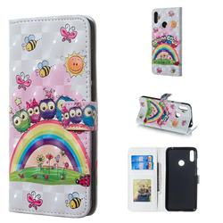 Rainbow Owl Family 3D Painted Leather Phone Wallet Case for Huawei Y7(2019) / Y7 Prime(2019) / Y7 Pro(2019)