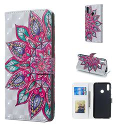 Mandara Flower 3D Painted Leather Phone Wallet Case for Huawei Y7(2019) / Y7 Prime(2019) / Y7 Pro(2019)