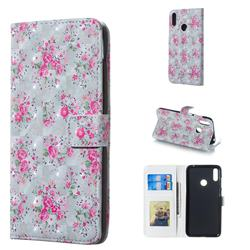 Roses Flower 3D Painted Leather Phone Wallet Case for Huawei Y7(2019) / Y7 Prime(2019) / Y7 Pro(2019)