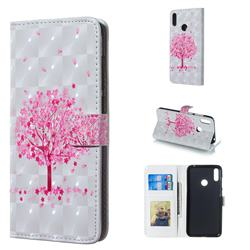Sakura Flower Tree 3D Painted Leather Phone Wallet Case for Huawei Y7(2019) / Y7 Prime(2019) / Y7 Pro(2019)