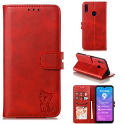 Embossing Happy Cat Leather Wallet Case for Huawei Y7(2019) / Y7 Prime(2019) / Y7 Pro(2019) - Red