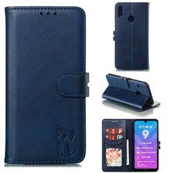 Embossing Happy Cat Leather Wallet Case for Huawei Y7(2019) / Y7 Prime(2019) / Y7 Pro(2019) - Blue