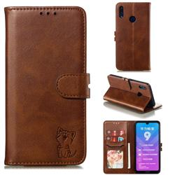 Embossing Happy Cat Leather Wallet Case for Huawei Y7(2019) / Y7 Prime(2019) / Y7 Pro(2019) - Brown