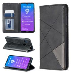 Prismatic Slim Magnetic Sucking Stitching Wallet Flip Cover for Huawei Y7(2019) / Y7 Prime(2019) / Y7 Pro(2019) - Black