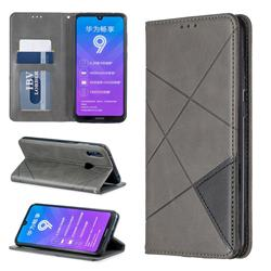 Prismatic Slim Magnetic Sucking Stitching Wallet Flip Cover for Huawei Y7(2019) / Y7 Prime(2019) / Y7 Pro(2019) - Gray