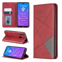 Prismatic Slim Magnetic Sucking Stitching Wallet Flip Cover for Huawei Y7(2019) / Y7 Prime(2019) / Y7 Pro(2019) - Red