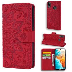 Retro Embossing Mandala Flower Leather Wallet Case for Huawei Y7(2019) / Y7 Prime(2019) / Y7 Pro(2019) - Red