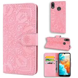 Retro Embossing Mandala Flower Leather Wallet Case for Huawei Y7(2019) / Y7 Prime(2019) / Y7 Pro(2019) - Pink
