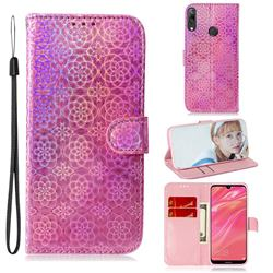 Laser Circle Shining Leather Wallet Phone Case for Huawei Y7(2019) / Y7 Prime(2019) / Y7 Pro(2019) - Pink