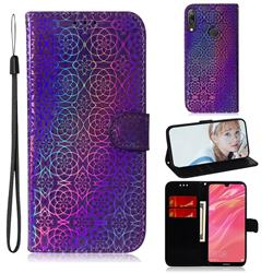 Laser Circle Shining Leather Wallet Phone Case for Huawei Y7(2019) / Y7 Prime(2019) / Y7 Pro(2019) - Purple