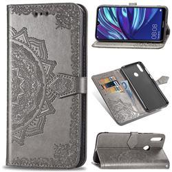Embossing Imprint Mandala Flower Leather Wallet Case for Huawei Y7(2019) / Y7 Prime(2019) / Y7 Pro(2019) - Gray