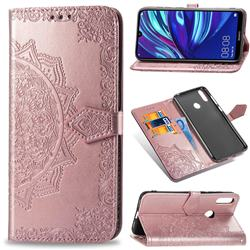 Embossing Imprint Mandala Flower Leather Wallet Case for Huawei Y7(2019) / Y7 Prime(2019) / Y7 Pro(2019) - Rose Gold