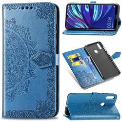 Embossing Imprint Mandala Flower Leather Wallet Case for Huawei Y7(2019) / Y7 Prime(2019) / Y7 Pro(2019) - Blue