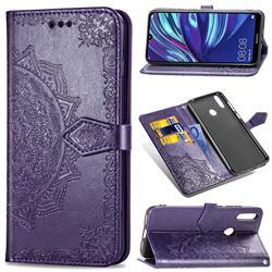 Embossing Imprint Mandala Flower Leather Wallet Case for Huawei Y7(2019) / Y7 Prime(2019) / Y7 Pro(2019) - Purple