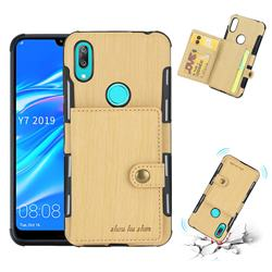 Brush Multi-function Leather Phone Case for Huawei Y7(2019) / Y7 Prime(2019) / Y7 Pro(2019) - Golden