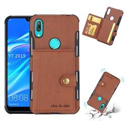Brush Multi-function Leather Phone Case for Huawei Y7(2019) / Y7 Prime(2019) / Y7 Pro(2019) - Brown