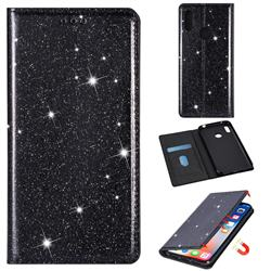 Ultra Slim Glitter Powder Magnetic Automatic Suction Leather Wallet Case for Huawei Y7(2019) / Y7 Prime(2019) / Y7 Pro(2019) - Black