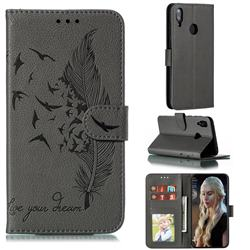 Intricate Embossing Lychee Feather Bird Leather Wallet Case for Huawei Y7(2019) / Y7 Prime(2019) / Y7 Pro(2019) - Gray