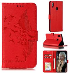 Intricate Embossing Lychee Feather Bird Leather Wallet Case for Huawei Y7(2019) / Y7 Prime(2019) / Y7 Pro(2019) - Red
