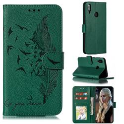 Intricate Embossing Lychee Feather Bird Leather Wallet Case for Huawei Y7(2019) / Y7 Prime(2019) / Y7 Pro(2019) - Green